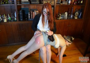 Spanking Veronica Works - Librarian Spanks Noisy Girl In Library - image 2