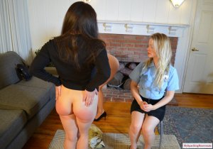 My Spanking Roommate - Kay And Elori Spanked For Jaywalking - image 1