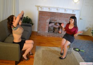 My Spanking Roommate - Elori Spanks Kay For Using Clothes - image 1
