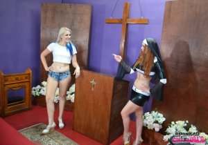 Spanked Call Girls - Nun Veronica Spanks Dria In Church - image 3