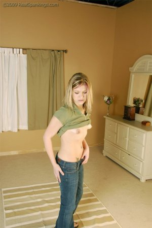 Real Spankings - Bare Breasted Teen Spanked - Rose - image 2