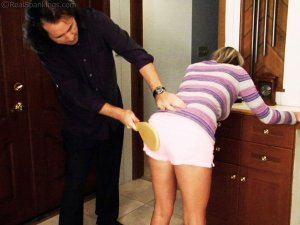 Real Spankings - Riley Paddled For Coming Home Late - image 1
