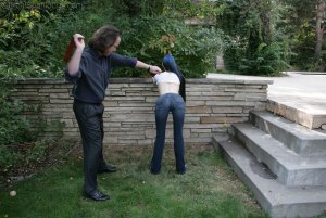Real Spankings - Lila's Outdoor Bare Breasted Strapping - image 5