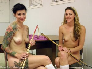 Real Spankings - Monica And Jade Naked Caning (part 1 Of 2) - image 1