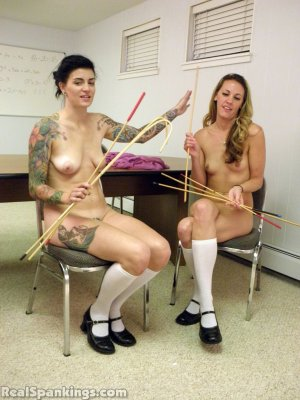 Real Spankings - Monica And Jade Naked Caning (part 1 Of 2) - image 3