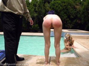 Real Spankings - Lila And Monica Caught Nude In The Pool (part 1: Lila) - image 1