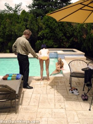 Real Spankings - Lila And Monica Caught Nude In The Pool (part 1: Lila) - image 5