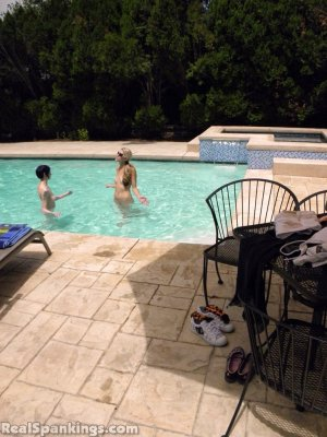 Real Spankings - Lila And Monica Caught Nude In The Pool (part 1: Lila) - image 12