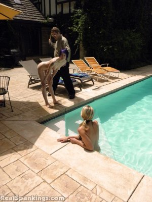 Real Spankings - Lila And Monica Caught Nude In The Pool (part 1: Lila) - image 3