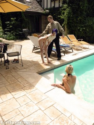 Real Spankings - Lila And Monica Caught Nude In The Pool (part 1: Lila) - image 13