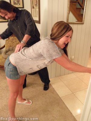 Real Spankings - Riley Spanked For Being Late - image 1