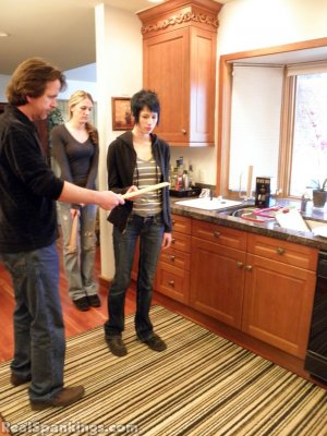 Real Spankings - Monica And Lila Paddled For A Messy Kitchen (part 2 Of 2) - image 8