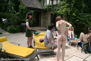 Real Spankings - Roxie And Friends Caught Smoking And Sunbathing Topless - image 9