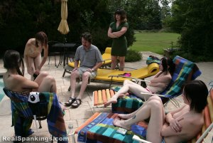 Real Spankings - Roxie And Friends Caught Smoking And Sunbathing Topless - image 11