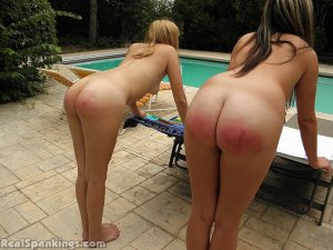 Real Spankings - 2 Girls Strapped Naked By The Pool (part 2) - image 5