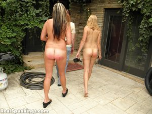 Real Spankings - 2 Girls Strapped Naked By The Pool (part 2) - image 3