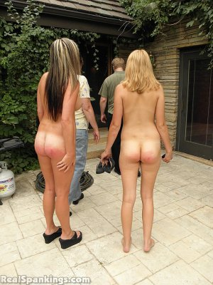 Real Spankings - 2 Girls Strapped Naked By The Pool (part 2) - image 7