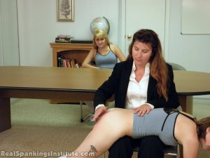 Real Spankings Institute - Abigail And Allison Spanked By Miss Blake(part 1 Of 2) - image 10