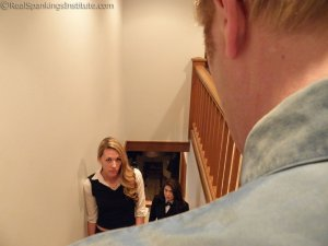 Real Spankings Institute - Betty And Monica Spanked In The Stairwell (part 1 Of 2) - image 5