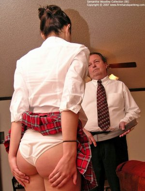 Firm Hand Spanking - Tawse On White Panties - image 2