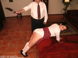 Firm Hand Spanking - Tawse On White Panties - image 1