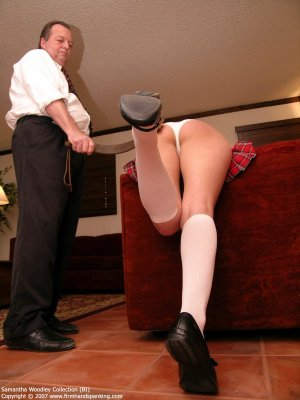 Firm Hand Spanking - Tawse On White Panties - image 4