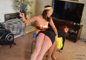 Spanking Veronica Works - Wonder Woman Spanks Batgirl - image 5