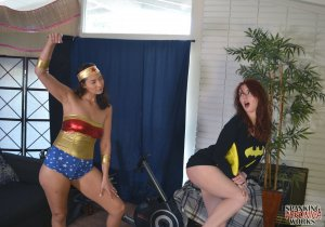 Spanking Veronica Works - Wonder Woman Spanks Batgirl - image 1
