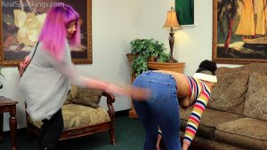Real Spankings - Arella's Bare Breasted Strapping - image 8