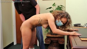 Real Spankings Institute - Kiki: Strapped & Paddled By The Dean (part 2) - image 2